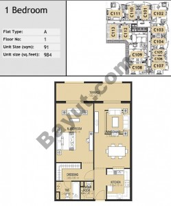 Bld C One Bed Type A2 Floor (1st-10th)
