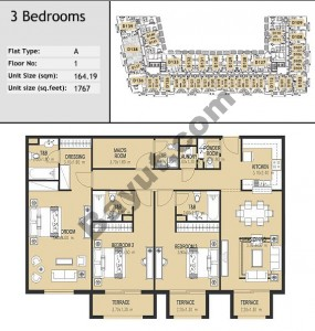 Bld D Three Bed Type A Floor (1st-3rd)