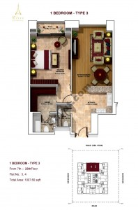 1 Bedroom- Type 3- 7th to 28th floor