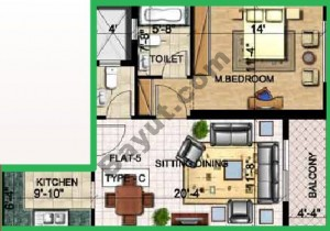 Floorplan 1 Bedroom Type C Flat 5