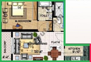 Floorplan 1 Bedroom Type C Flat 8
