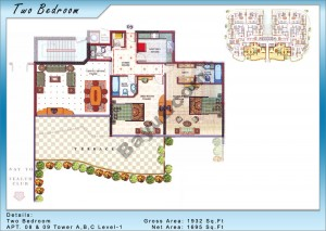 2 Bedroom Apt (8,9) Tower A Level 1