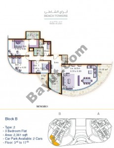 Block B 3 bed Type 2 Floor (3rd-17th)