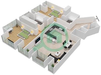 Cayan Tower - 2 Bedroom Apartment Type/unit 1/1 Floor plan