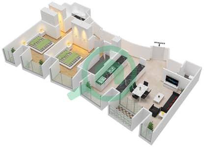 Cayan Tower - 2 Bedroom Apartment Type/unit 1/2 Floor plan