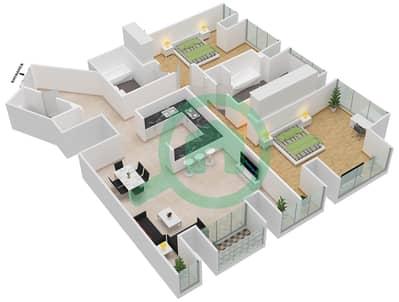 Cayan Tower - 2 Bedroom Apartment Type/unit 1/3 Floor plan
