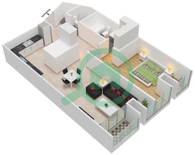 Cayan Tower - 1 Bedroom Apartment Type/unit 1/4 Floor plan