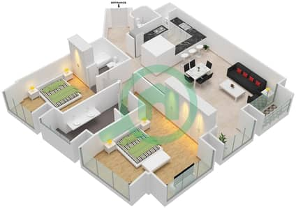 Cayan Tower - 2 Bedroom Apartment Type/unit 1/5 Floor plan