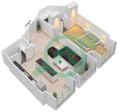 Cayan Tower - 1 Bedroom Apartment Type/unit 1/6 Floor plan