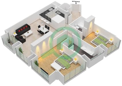 Cayan Tower - 2 Bedroom Apartment Type/unit 1/8 Floor plan