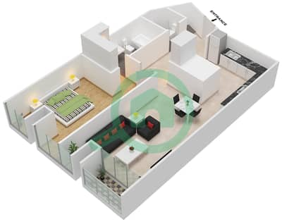 Cayan Tower - 1 Bedroom Apartment Type/unit 1/9 Floor plan
