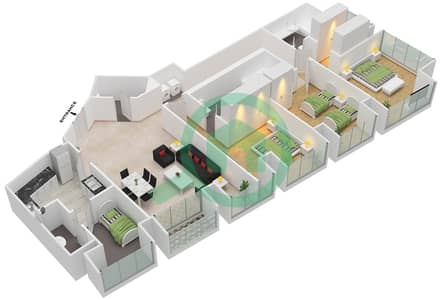 Cayan Tower - 3 Bedroom Apartment Type/unit 2/1 Floor plan