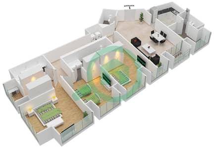 Cayan Tower - 3 Bedroom Apartment Type/unit 2/2 Floor plan