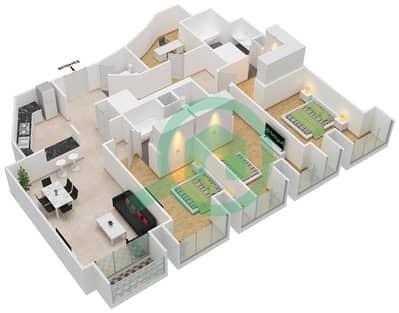 Cayan Tower - 3 Bedroom Apartment Type/unit 2/3 Floor plan