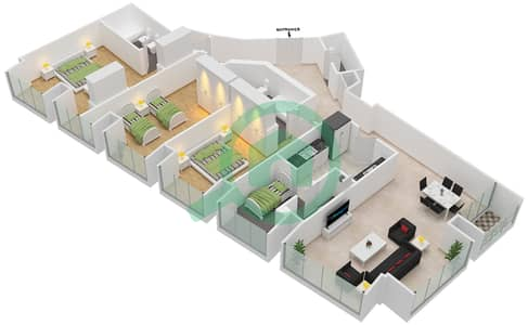 Cayan Tower - 3 Bedroom Apartment Type/unit 2/4 Floor plan