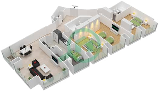 Cayan Tower - 3 Bedroom Apartment Type/unit 2/5 Floor plan