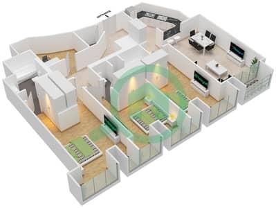 Cayan Tower - 3 Bedroom Apartment Type/unit 2/6 Floor plan