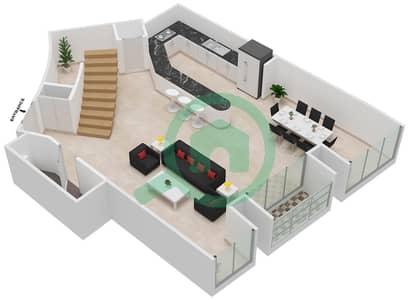 Cayan Tower - 2 Bedroom Apartment Type/unit 3/2 Floor plan