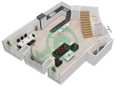 Cayan Tower - 2 Bedroom Apartment Type/unit 3/4 Floor plan