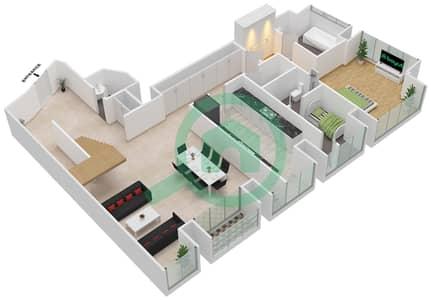 Cayan Tower - 3 Bedroom Apartment Type/unit 3/5 Floor plan