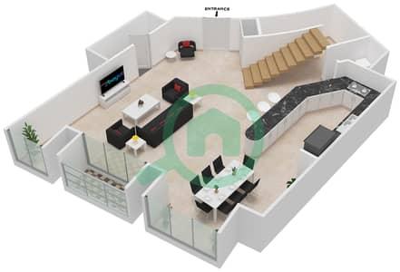 Cayan Tower - 2 Bedroom Apartment Type/unit 3/7 Floor plan