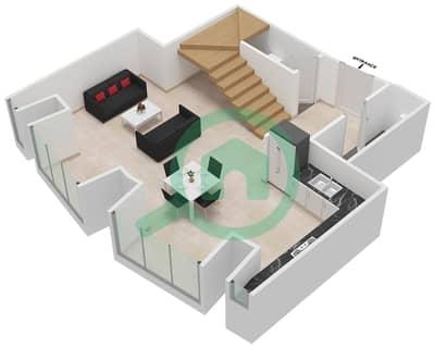 Cayan Tower - 1 Bedroom Apartment Type/unit 3/8 Floor plan