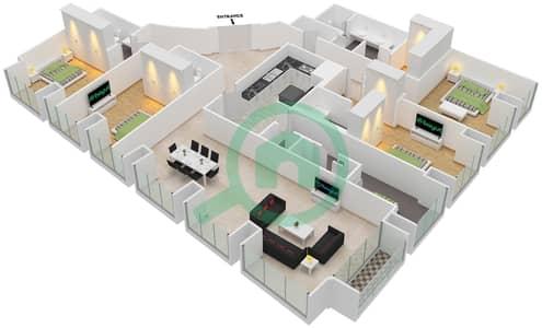 Cayan Tower - 4 Bedroom Apartment Type/unit 4/1 Floor plan