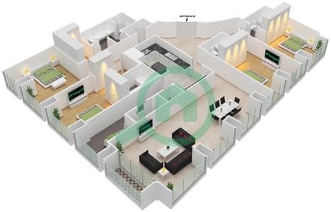Cayan Tower - 4 Bedroom Apartment Type/unit 4/2 Floor plan