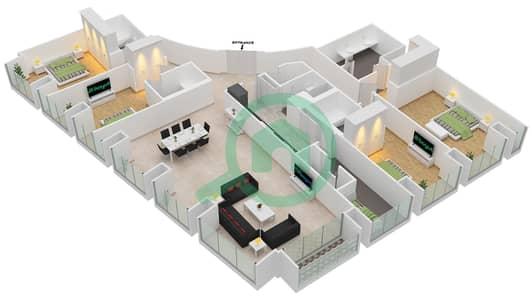 Cayan Tower - 4 Bedroom Apartment Type/unit 4/3 Floor plan