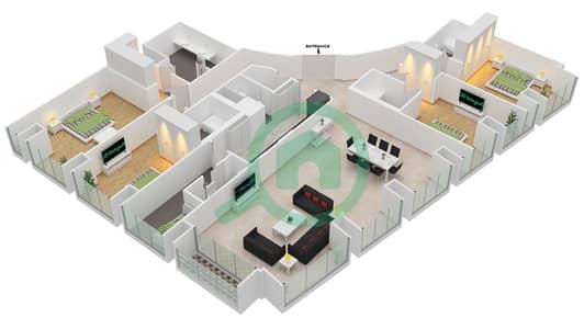 Cayan Tower - 4 Bedroom Apartment Type/unit 4/4 Floor plan