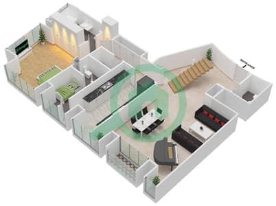 Cayan Tower - 3 Bedroom Apartment Type/unit 3/6 Floor plan