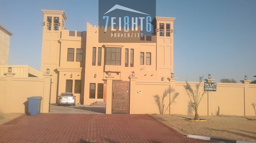 2 Outstanding property: 6 b/r good quality indep villa + maids room + large garden for rent in Mizhar 2