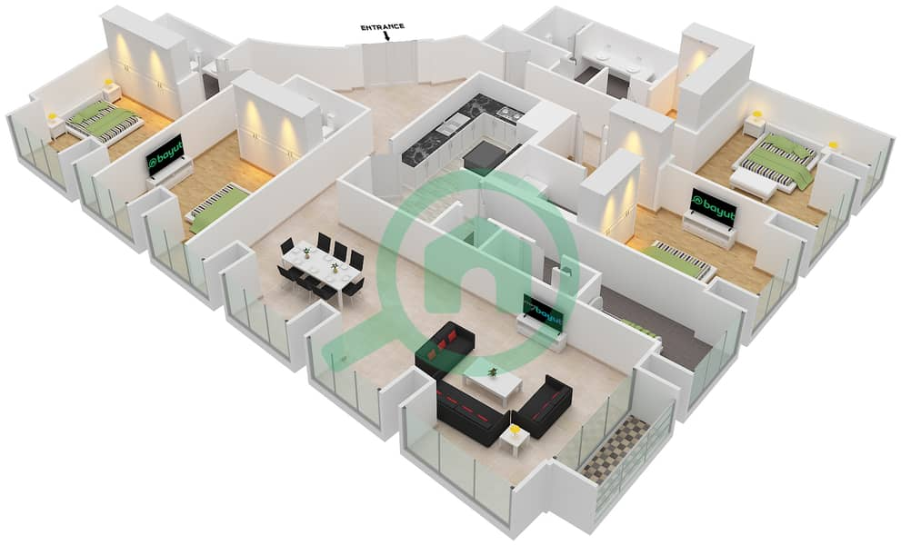 Floor Plans For Type Unit 4 1 4 Bedroom Apartments In Cayan Tower Bayut Dubai