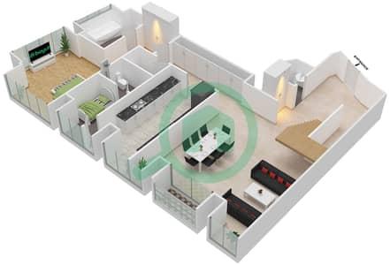 Cayan Tower - 3 Bedroom Apartment Type/unit 3/1 Floor plan