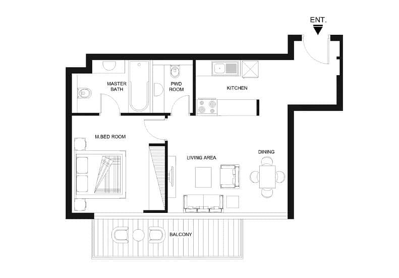 14 1 Bed   Large Balcony   1.5 Baths   Modern