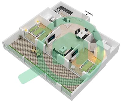 Botanica - 2 Beds Apartments type 4 Floor plan