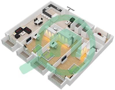 Botanica - 3 Beds Apartments type 8 Floor plan