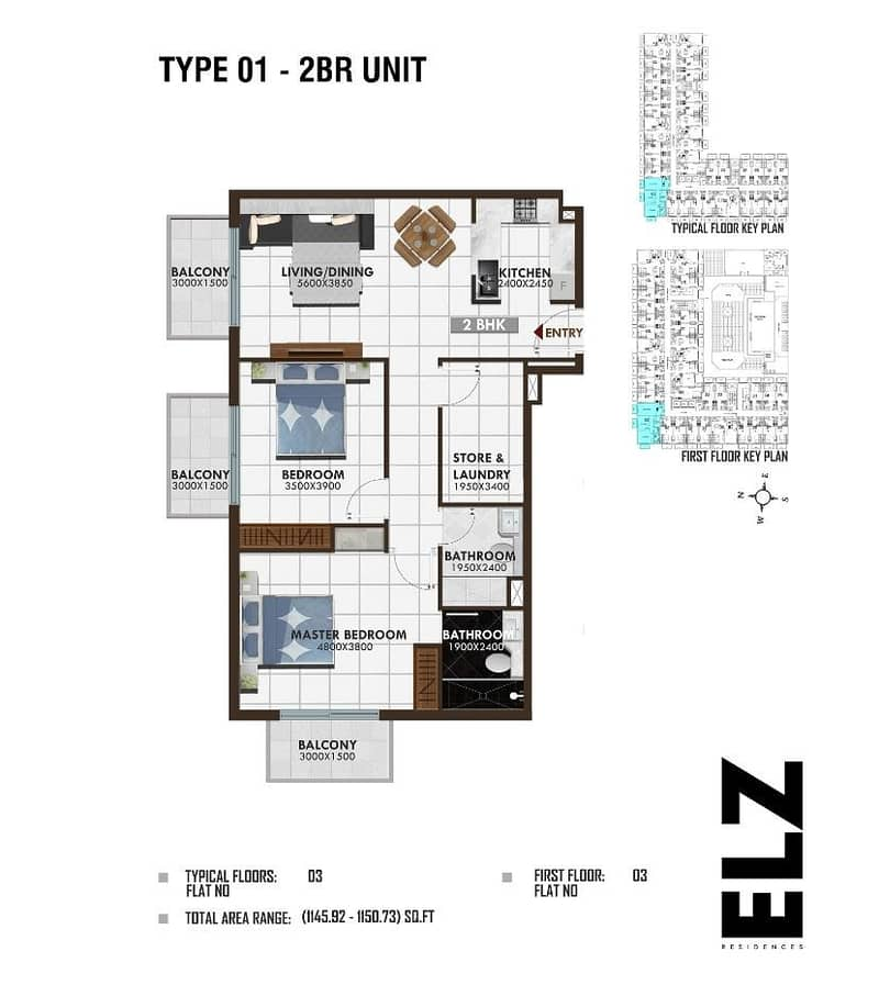 12 2 Bedrooms in ELZ Residence - 1%  Payment Plan for 60 Months