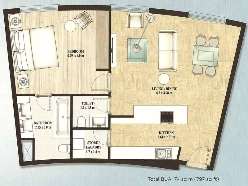 10 1 Bed | High Floor | 778 Sq. Ft. | Tower B