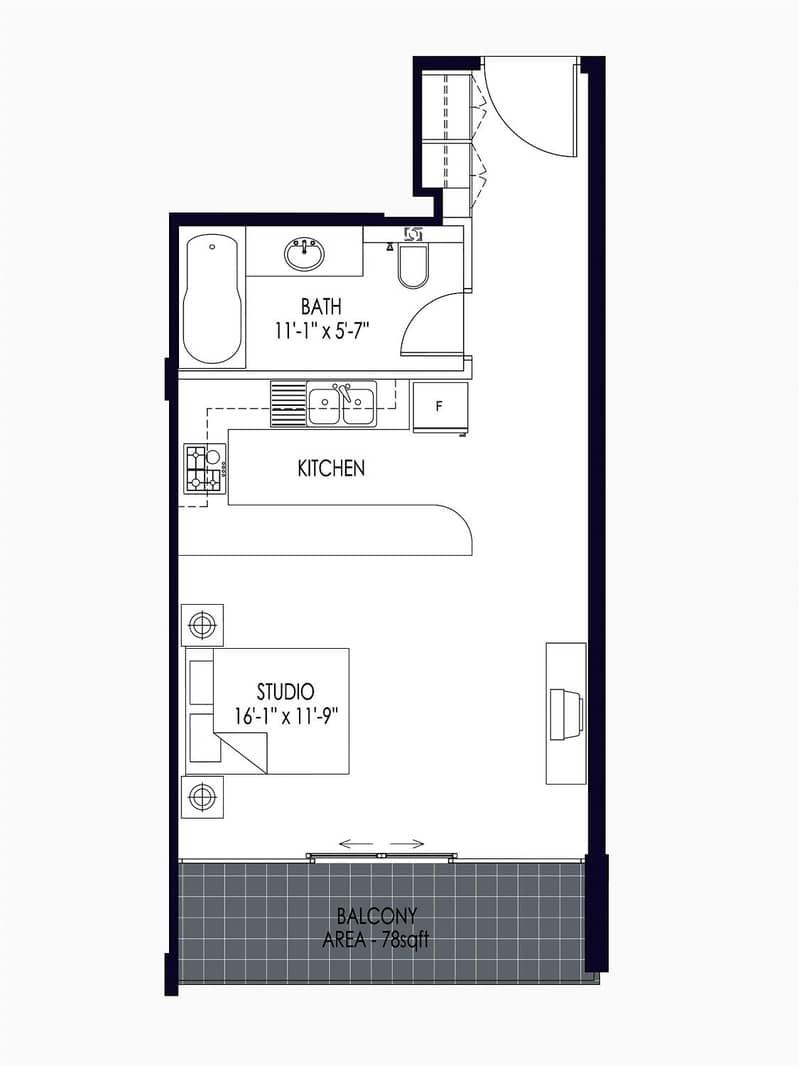 10 45K Studio | Unfurnished | Large Balcony
