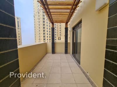 2 Bedroom Apartment for Rent in Jumeirah Beach Residence (JBR), Dubai - Fully Furnished | Large Terrace | Partial Sea View