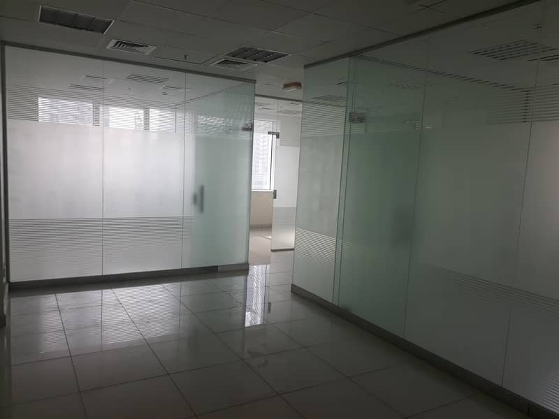 2 Glass Partitions/Fitted/Corniche view/Low rent !!