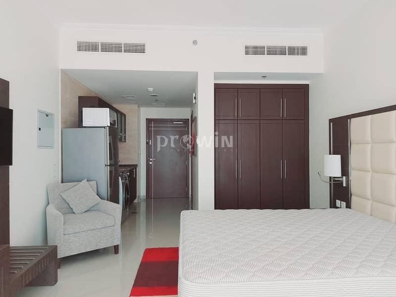 Elegant Studio Apartment   Miracle Garden Views  Fully Furnished    Upto 12 cheques!!!