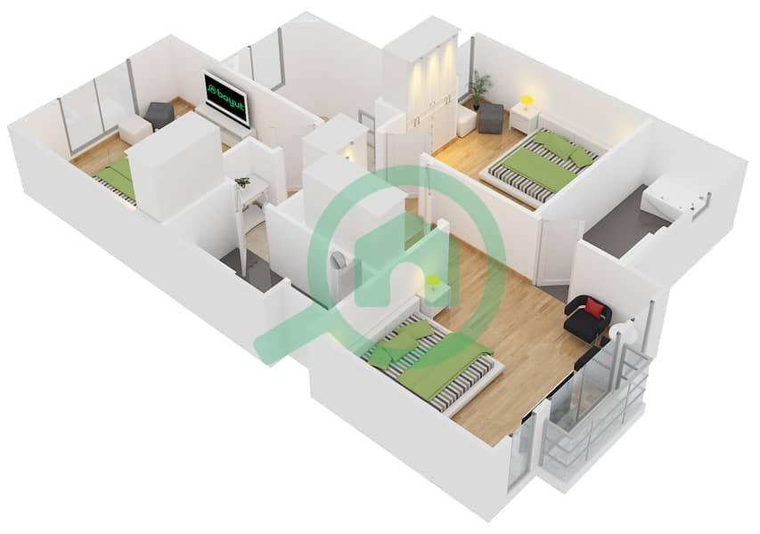 Floor Plans For Type C 3 Bedroom Townhouses In Bella Casa Bayut Dubai