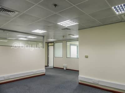 Office for Rent in Al Khabisi, Dubai - Fully Fitted and Partitioned | Ready to Move-In Office | with Nice Exterior View
