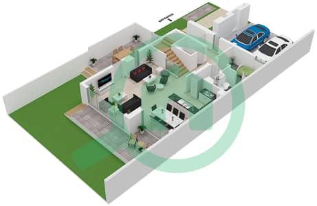 المخططات الطابقية لتصميم النموذج SAVOYE02 تاون هاوس 3 غرف نوم - جولف جروف