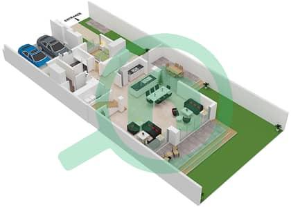 المخططات الطابقية لتصميم النموذج AALTO 01 تاون هاوس 3 غرف نوم - جولف جروف