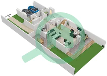 المخططات الطابقية لتصميم النموذج AALTO 02 تاون هاوس 3 غرف نوم - جولف جروف