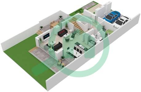 المخططات الطابقية لتصميم النموذج EAMES 02 تاون هاوس 3 غرف نوم - جولف جروف