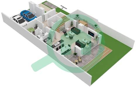 المخططات الطابقية لتصميم النموذج SAVOYE 01 تاون هاوس 3 غرف نوم - جولف جروف
